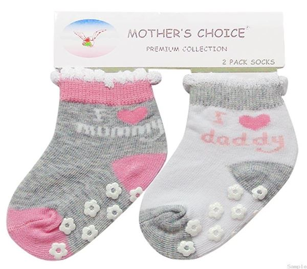 Picture of Girl's 2 Pack Socks Non Slip GRY/PNK