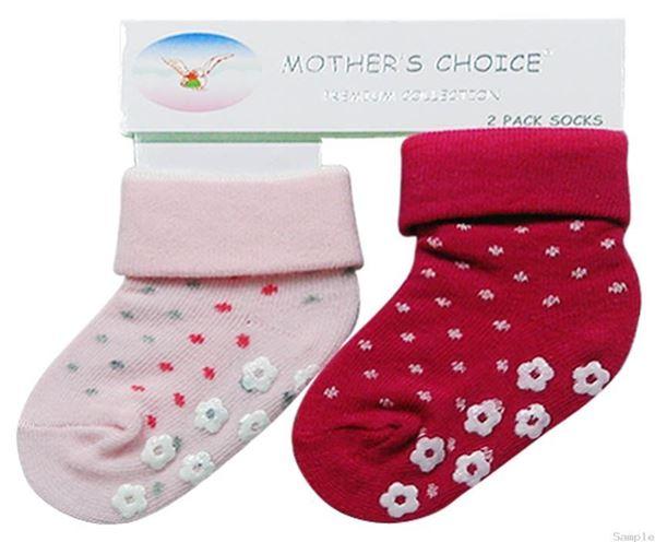 Picture of Girl's 2 Pack Socks Non Slip Pink/Cerise