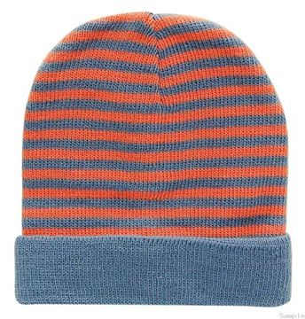"Picture of Infant Boys Striped Beanie ""Airforce/Orange"""