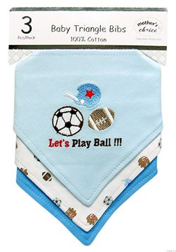 "Picture of 3 Pack Triangle Bibs ""Lets Play Ball"""