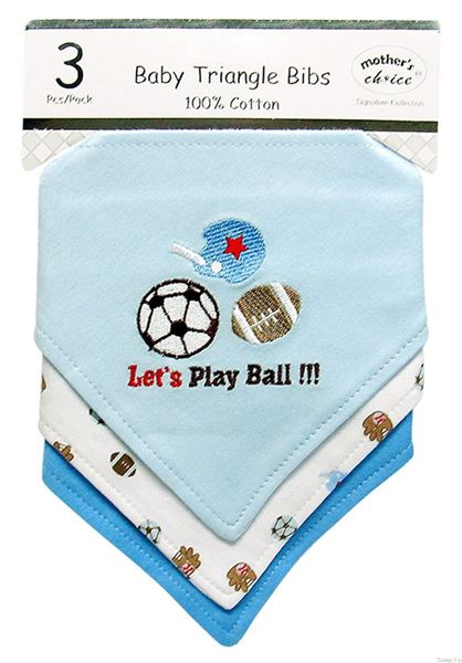 """Picture of 3 Pack Triangle Bibs """"Lets Play Ball"""""""
