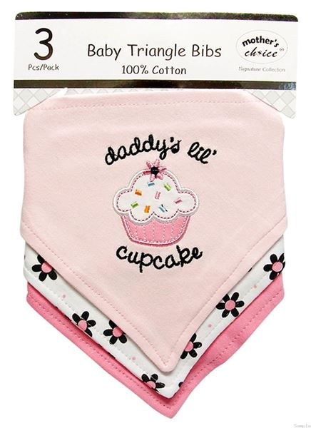 "Picture of 3 Pack Triangle Bibs ""Cupcake"""