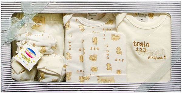 """Picture of Infants 6Pc Grower Gift Set """"Train 123"""" - Beige"""