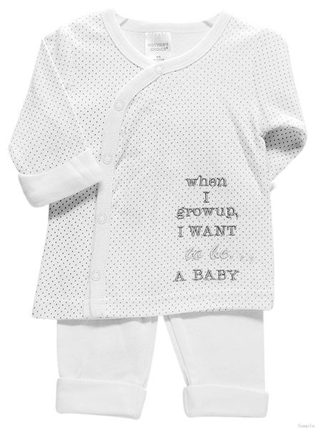"""Picture of Dots - White 2Pc Long Top & Pants """"I Want To Be"""""""