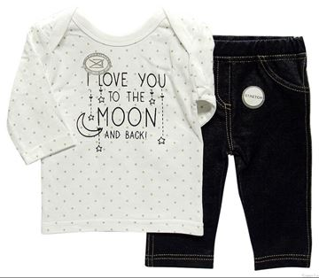 "Picture of Infants Stretch Denim & Top ""I Love You"""