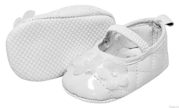Picture of Girl's Diamond Stitch Shoe With Soft Flowers