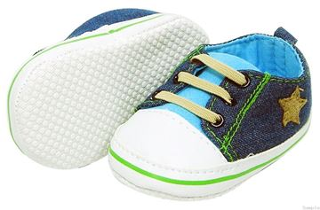 Picture of Boy's Denim Lace Up 'Star' - With Sky Blue