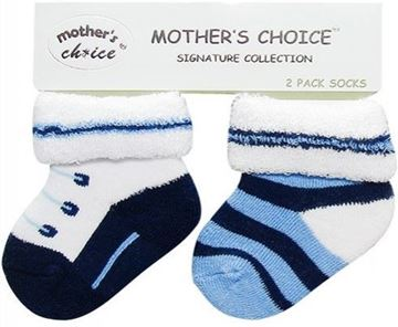 Picture of 2PK Newborn Towelling Socks Blue
