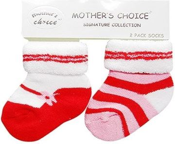 Picture of 2PK Newborn Towelling Socks Red