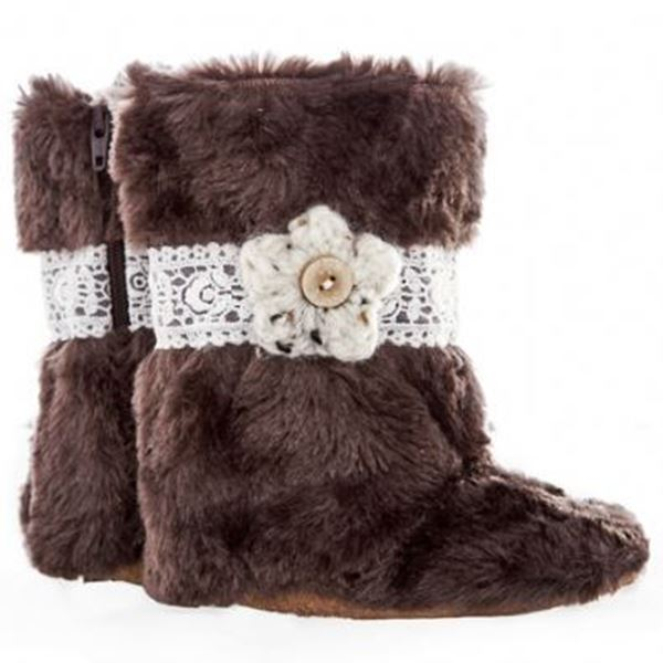 Picture of Boots - Brown Fur Lace & Flower