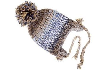 Picture of Beanie with Tie - Blue & Tan