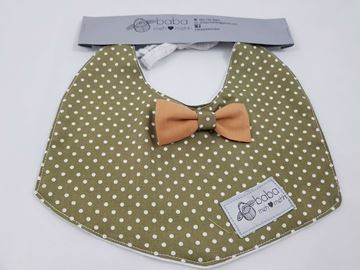 Picture of Vintage Bib - Khaki green with mustard bow