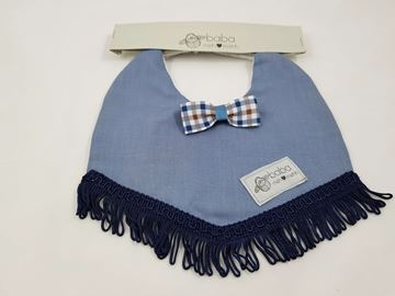 Picture of Vintage Bib -  Blue with bow