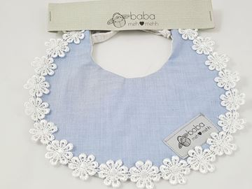 Picture of Vintage Bib -  Blue with lace flowers