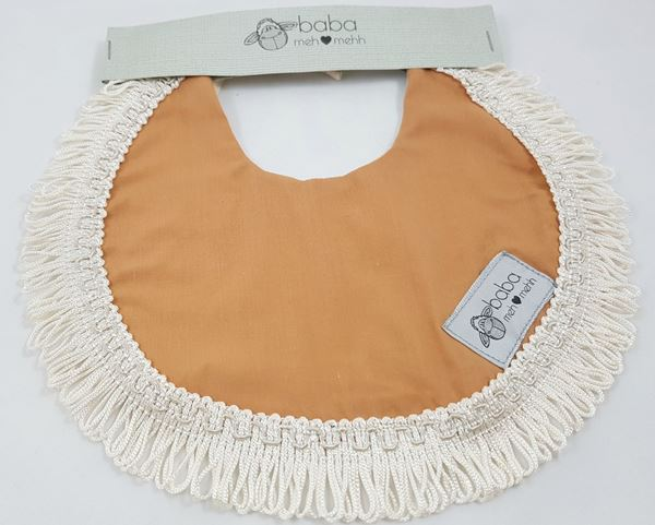 Picture of Vintage Bib -  Camel with lace edging
