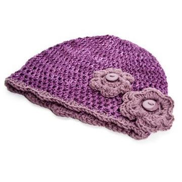 Picture of Beanie - Dark purple with flowers