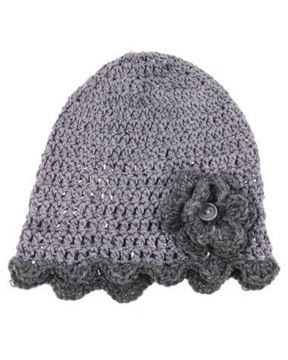 Picture of Beanie - Grey with flower