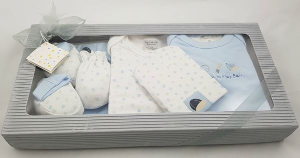"""Picture of Infants 6Pc Grower Gift Set """"Born To Play Ball"""" - Light Blue"""