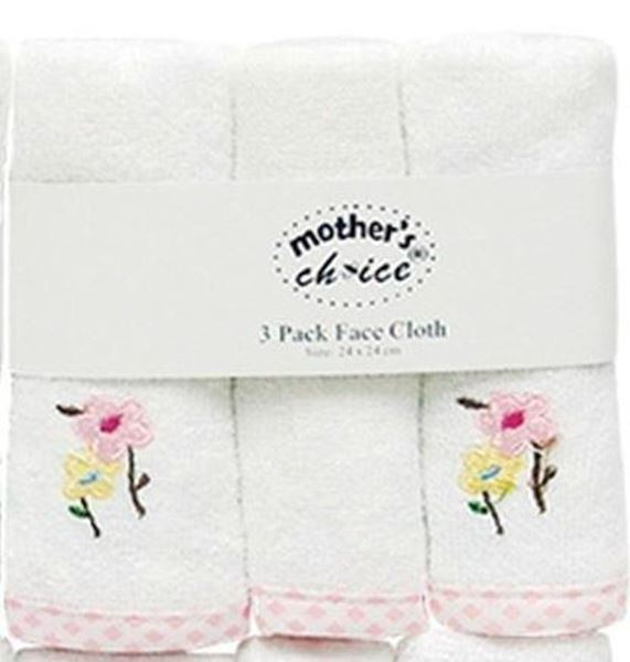 Picture of 3 Pack Embroided Facecloth Set - White With Pink