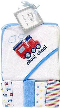 Picture of Hooded Towel With 5 Pc Facecloths Set - Blue Train