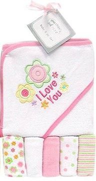 Picture of Hooded Towel With 5 Pc Facecloths Set - Pink Flower