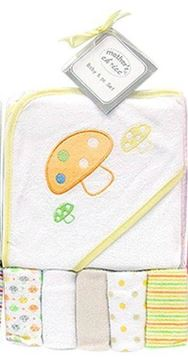 Picture of Hooded Towel With 5 Pc Facecloths Set - Yellow
