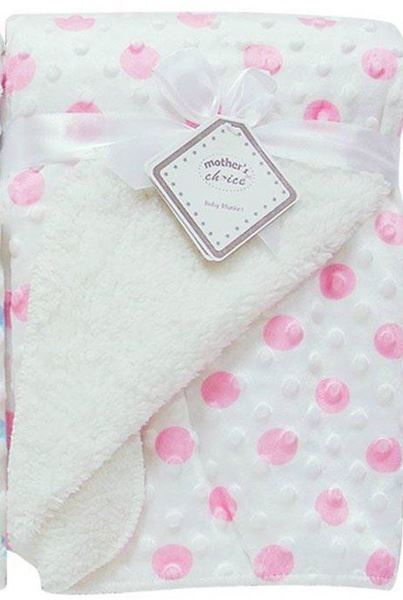 Picture of Infants Sherpa Dot Blanket With Fur - Pink