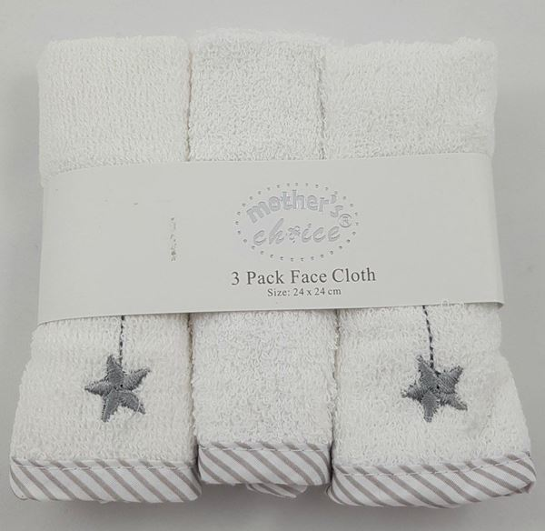 Picture of 3 Pack Embroided Facecloth Set 3 Stars - White